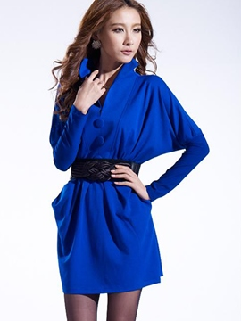 Ericdress Autumn Thick Bat Sleeve Belt Casual Dress