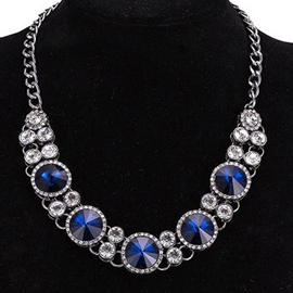 Ericdress Blue Crystal Glass Decorated Necklace