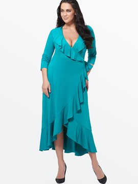 Ericdress Soild Color Falbala Agraffe Maxi Dress