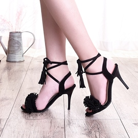 Ericdress Open Toe Tassel Lace-Up Stiletto Sandals