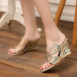 Ericdress Charming Rhinestone Wedge Mules Shoes