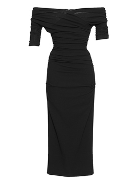 Ericdress Plain Pleated Slash Neck Half Sleeve Sheath Dress