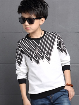 Ericdress Thread Collar Abstract Printing Boys Tops