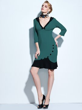 Ericdress V-Neck Mermaid Buttons Sheath Dress