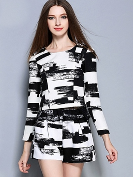 Ericdress Casual Print Shorts Suit