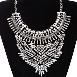 Ericdress Silver Plated Rhinestone Necklace