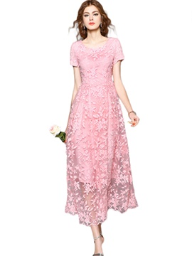 Ericdress Lace Classy Flower Embroidery Layering Maxi Dress