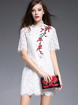 Ericdress Embroidery Straight Lace Dress