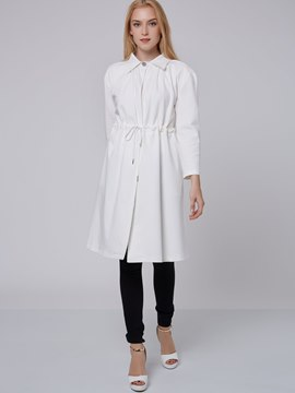 Ericdress Solid Color Pleated Lace-Up Trench Coat