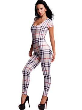 Ericdress Simple Plaid Round Neck Jumpsuits Pants