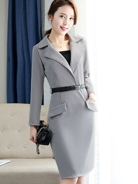 Ericdress Notched Lapel Solid Color Bodycon Dress