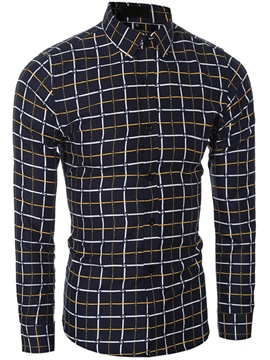 Ericdress Grid Slim Men's Shirt