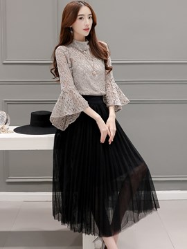 Ericdress Sweet Flare Sleeve Lace Blouse Suit