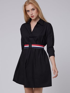 Ericdress Solid Color Lapel Three-Quarter Sleeve Casual Dress