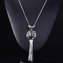 Ericdress Silver Flower Tassel Necklace