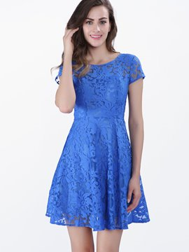 Ericdress Plain Lace Short Sleeve Casual Dress