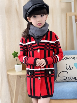 Ericdress Color Block Plaid Girls Coat