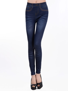 Ericdress Rivet Faux Jean Leggings Pants