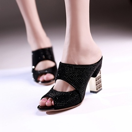 Ericdress Rhinestone Peep Toe Mules Shoes