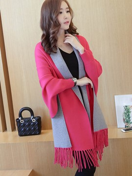 Ericdress Color Block Tassel Cape