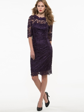 Ericdress Solid Color Half Sleeve Lace Dress