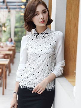 Ericdress Lace Chiffon Patchwork Floral Blouse
