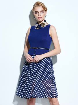 Ericdress Polka Dots Belt Casual Dress