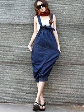 Ericdress Casual Denim Jumpsuits Pants