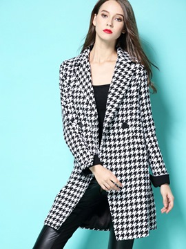 Ericdress Slim Houndstooth Polo Blazer