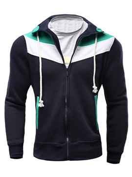 Ericdress Color Block Thin Casual Men's Hoodie