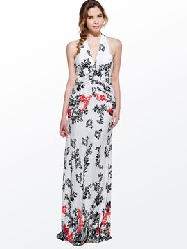 Modern Beautiful V-Neck Sleeveless Leaf Print Halter Maxi Dresses