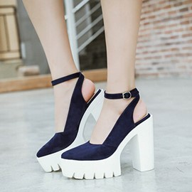 Ericdress Suede Platform Point Toe Chunky Sandals