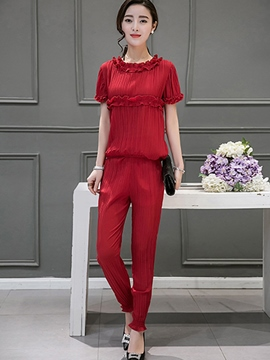 Ericdress Sweet Solid Color Pants Suit