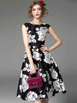 Ericdress Flower Print Sleeveless Expansion Casual Dress