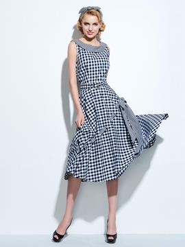 Ericdress Plaid Falbala Casual Dress