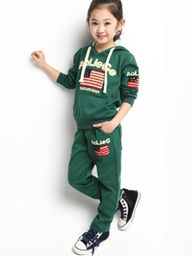Ericdress Letter&Flag Patchwork Hooded Girls Outfits