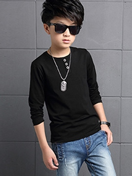 Ericdress Simple Button Pure Long Sleeve Boys Tops