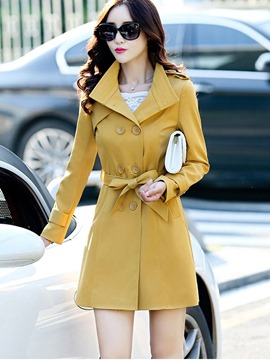 Ericdress Solid Color Double-Breasted Lace-Up Trench Coat