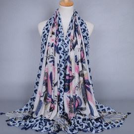 Ericdress Peacock Printed Voile Scarf