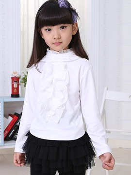 Ericdress Solid Color Long Sleeve Patchwork Girls T-Shirt