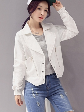 Ericdress Solid Color Single-Breasted Polo Jacket