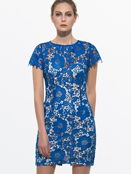 Ericdress Soild Color Short Sleeve Lace Dress