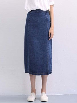 Ericdress Simple Denim Column Skirt