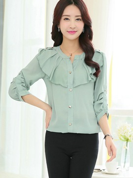 Ericdress Solid Color Loose Frill Chiffon Blouse
