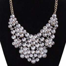 Ericdress Transparent Crystal Glass Gold Necklace