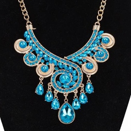Ericdress Blue Crystal Glass Gold Necklace