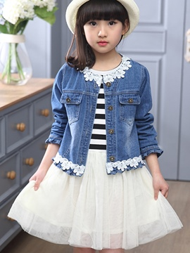 Ericdress Lace-Trim Strip Mesh Girls Outfits