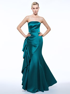 Ericdress Strapless Sheath Ruched Ruffles Long Evening Dress