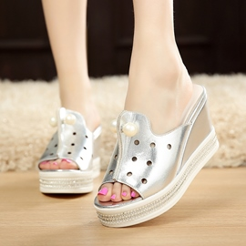Ericdress Pearl Peep Toe Wedge Mules Shoes