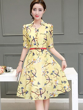 Ericdress Summer Chic Print Peter Pan Collar Casual Dress